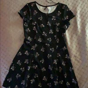 H&M Black Dress with Roller Skate Print